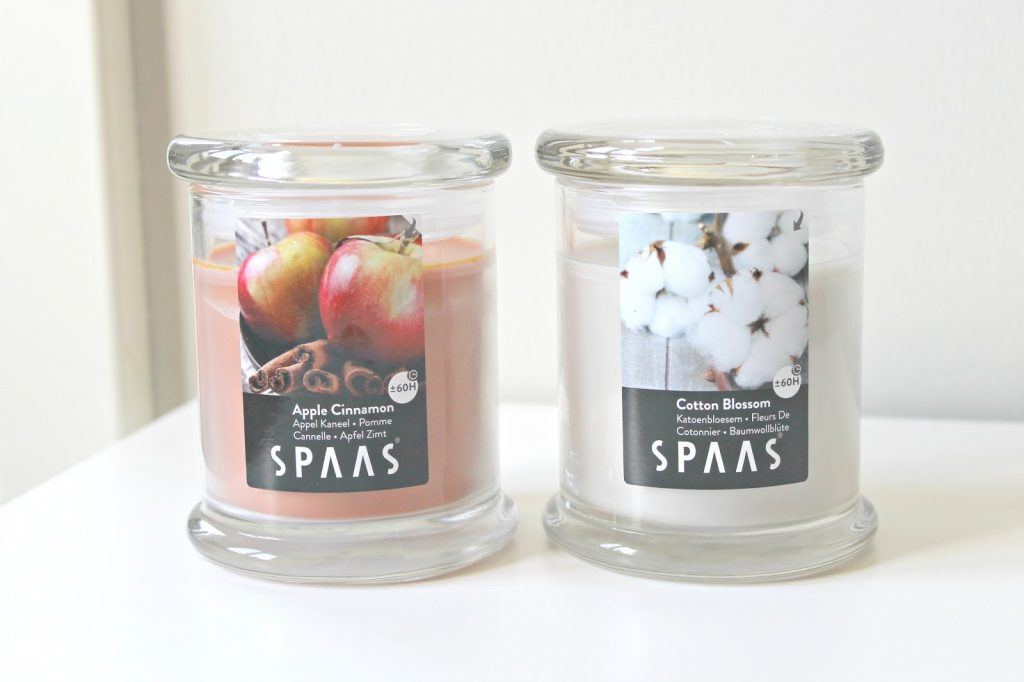 spaas geurkaarsen apple cinnamon cotton blossom