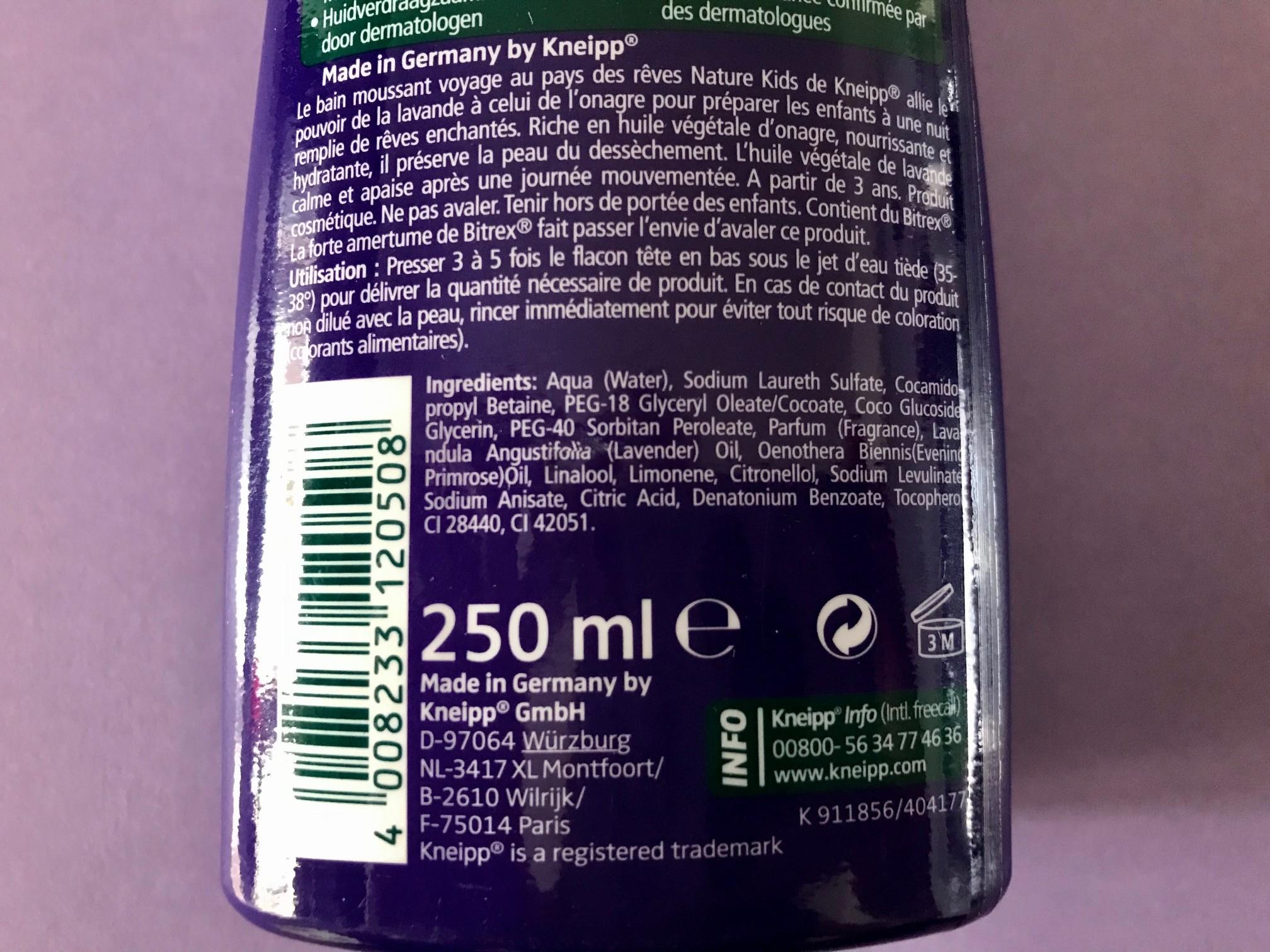 ingredienten kneipp droomreis badschuim
