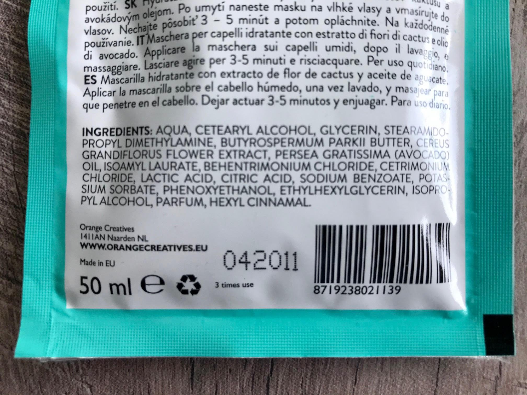 ingredienten cactus hair mask