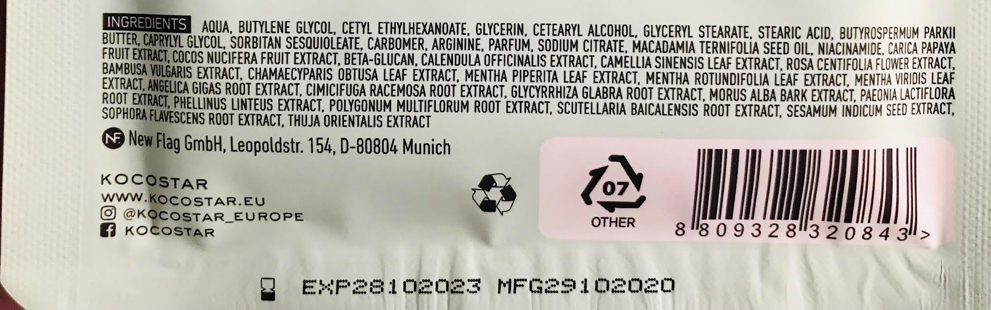 ingredienten kocostar voetmasker