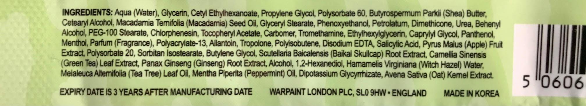 ingrediënten W7 moisturising foot mask