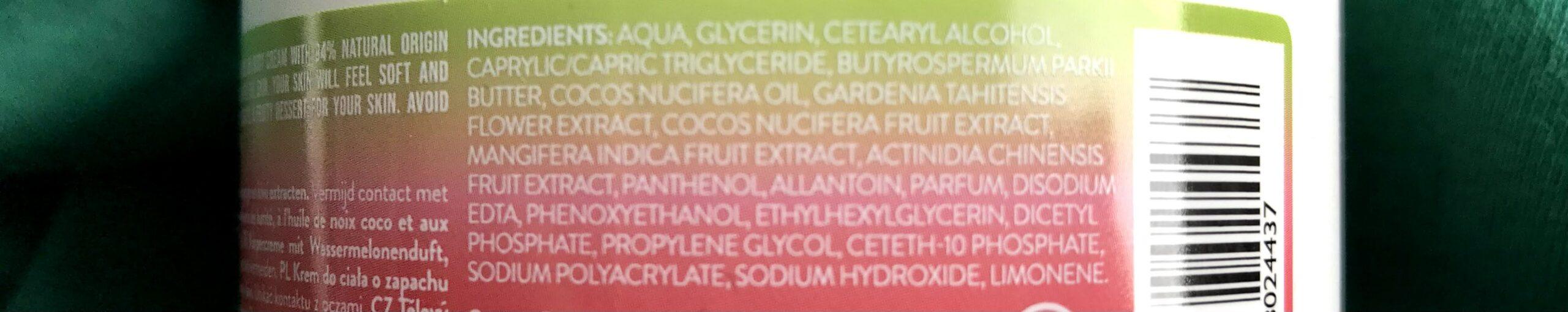 ingrediëntenlijst watermelon body cream